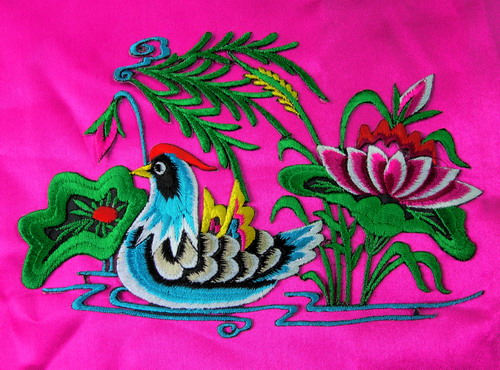 PM10-2 Right Mandarin Duck Embroidery Applique Iron On Art Craft