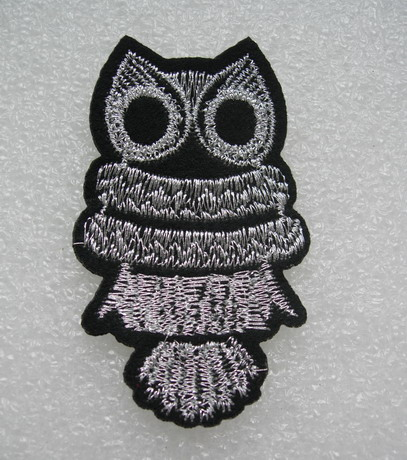 PM19 Owl Silver Trims Embroidery Patch Applique 2pcs