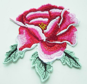 PT25 Iron On Patch Applique Embroidery Red Peony Flower