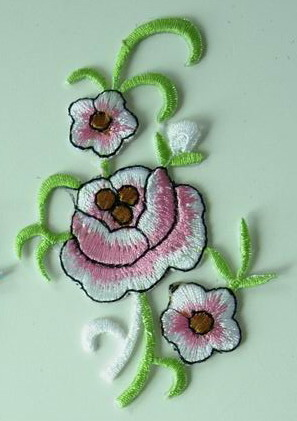 PT110 Little Flowers Embroidery Patch Iron On Scrapbook 2pcs
