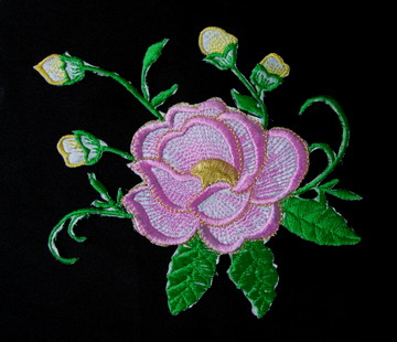 PT121 Pink Trim Flowers Embroidery Patch Applique
