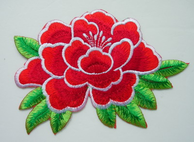 PT154 2Tone Peony Flower Embroidery Patch Red Iron On