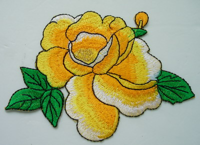 PT161 Oriental Peony Tone Flower Embroidery Patch Yellow Iron On