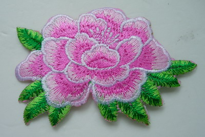 PT163 Little Tone Flower Peony Embroidery Patch Pink Iron On