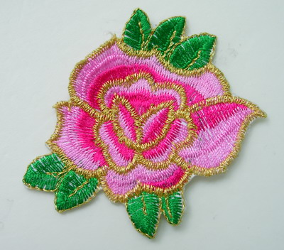 PT166 Little Tone Flower Embroidery Patch Pink Iron On