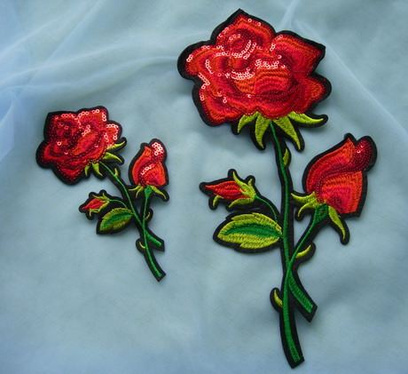 PT192 Paired Rose Floral Embroidered Sequin Patch Applique