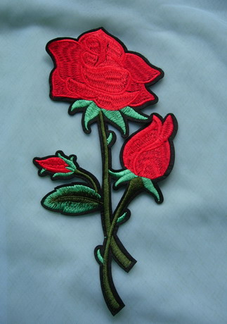 PT194 Trendy Rose Embroidered Patch Applique Iron On Dress