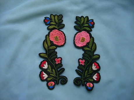 PT200 Mirror Floral Leaves Embroidered Patch Iron On Fashion