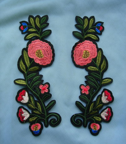 PT201 Long Mirror Floral Leaves Embroidered Patch Iron On Dress