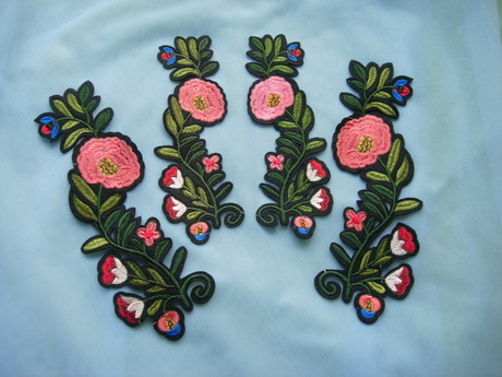 PT202 Mirror Floral Leaves Embroidered Patch Iron On 2pairs - Click Image to Close