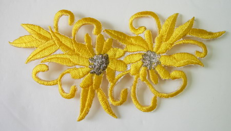 PT28-2 Embroidery Patch Twin Flower Yellow Iron on Applique 2pc