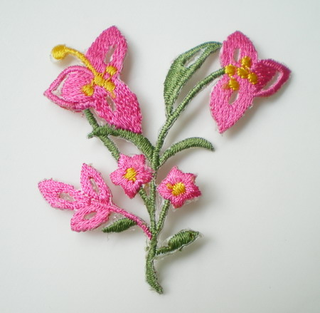 PT36-2 Embroidery Patch Tree Flower Iron on Applique Fuchsi 4pcs