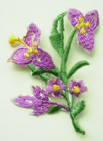 PT36 Embroidery Patch Tree Flower Iron on Applique Purple 4pcs