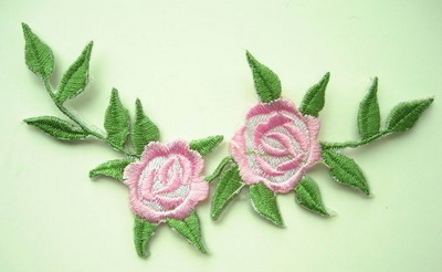 PT49 Embroidery Patch Pink Rose Applique 2pcs