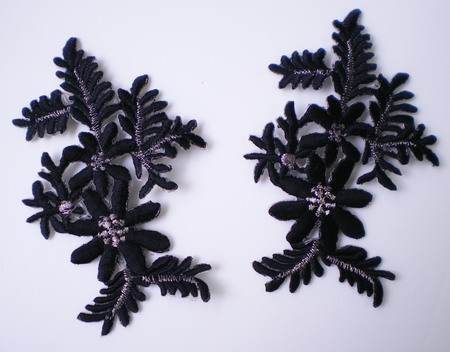 PT64 Embroidery Patch Applique Black Cabomba Caroliniana 2pcs