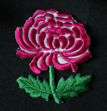 PT80 Fuchsia Daisy Embroidery Patch Applique Iron On 2pcs