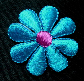 PT92 Aqua Petals Flower Embroidery Patch Applique Iron On 4pcs