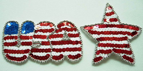 PA04 Sequin Applique Patriotic USA Star Sequin Bead Motif
