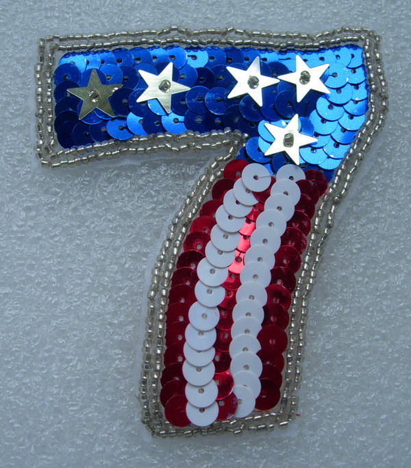 PA07 ALPHABET SEVEN (7) w/USA Flag Sequin Beaded Applique Motif