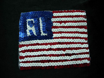 PA09 Sequin Applique RL POLO Patriotic USA Flag Sequin Motif