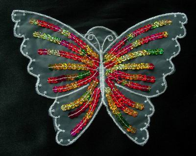 VA02 Colorful Butterfly Lace Venise Venice Sequin Applique