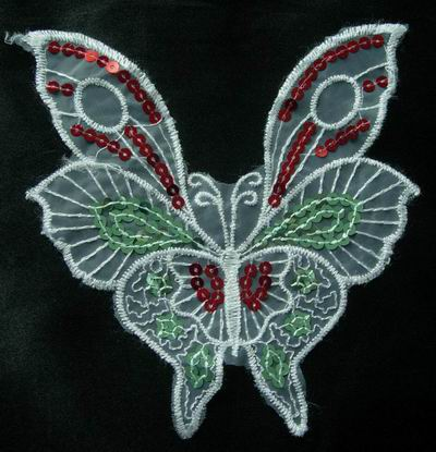 VA04 2pcs Butterfly Venise Applique Sequin Red & Green