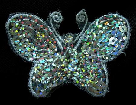 VA13 Little Butterfly Sequin Venise Applique White 4pcs