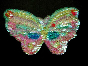 AN05-2 Sequin Bead Applique Rainbow Butterfly Motif