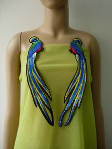 AN104 Blue Long Tail Bird Paired Sequined Applique Trendy/Chic