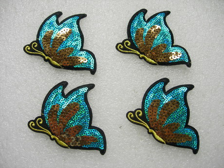 AN105 Aqua Butterfly Embroidered Sequin Applique Patch Iron On