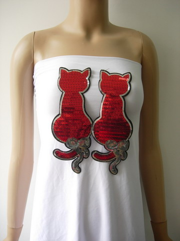 AN106 Twin Cat Cats Embroidered Sequin Applique Patch Iron On