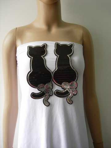 AN107 Black Twin Cat Cats Sequin Applique Patch Iron On Fashion