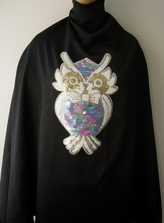 AN109 Colorful Owl Sequined Embroidered Applique Iron On Dress