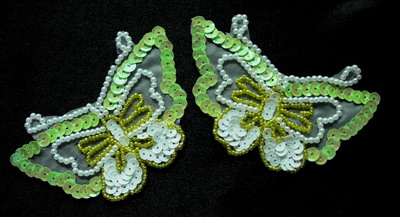 AN36 Sequin Bead Applique Pear Bead Butterfly Motif Green 2pcs