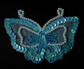 AN37-3 Sequin Bead Applique Pear Bead Butterfly Motif Blue x2