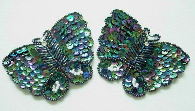 AN39 Sequin Bead Bugle Applique Butterfly Motif Black Iris 2pcs