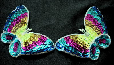 AN40 Sequin Bead Applique Rainbow Butterfly Motif 2pcs