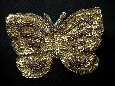 AN42 Sequin Bead Applique Unique Butterfly Motif Gold