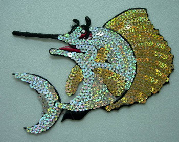 AN47 Hologram Sequined Applique Motif Ocean Fish