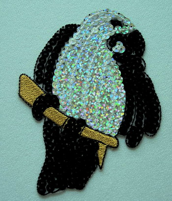 AN49 Hologram Sequin Applique Motif Parrot