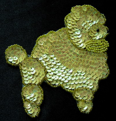 AN56 Bead Sequin Applique Motif Poodle Yellow Iridescent