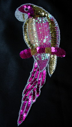 AN67 Fuchsia Pink Parrot Sequin Bead Applique Motif Fashion