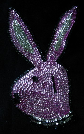 AN73 Bunny Head Rabit Sequin Applique Hot Pink