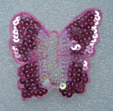 AN88 3Tone 3D Butterfly Sequin Bead Applique Motif Pink