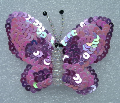 AN89 3Tone Layered Butterfly Sequin Bead Applique Motif Pink