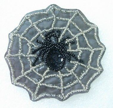 AN92 Spider Net Sequin Bead Applique Motif Handmade Black