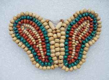 AN94 Colorful Butterfly Wood Beaded Applique Motif Handmade
