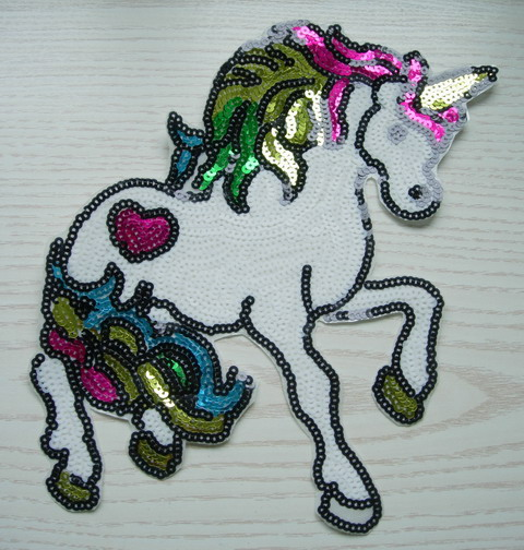 AN96 Colorful Horse Sequined Applique Iron Motif
