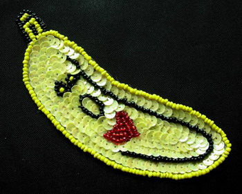 TF15 Sequin Bead Applique Motif Yellow Banana