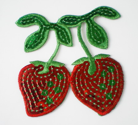 TF17 Cherry Strawberry Sequin Embroidery Applique Iron On